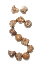 Lithuanian alphabet letter Š arranged from chocolate sweets