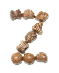 Alphabet letter Z arranged from chocolate sweets isolated