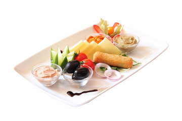 Delicious breakfast dish with various food