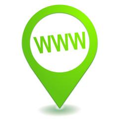 adresse internet sur symbole localisation vert