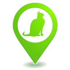 chat sur symbole localisation vert