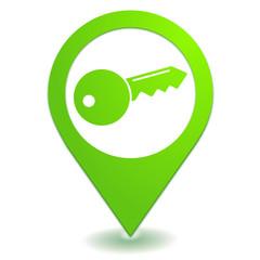 clef sur symbole localisation vert