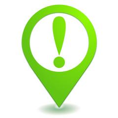 danger sur symbole localisation vert