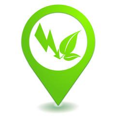 énergie naturelle sur symbole localisation vert