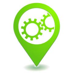 engrenage sur symbole localisation vert