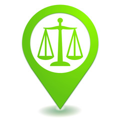 justice balance sur symbole localisation vert