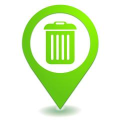 poubelle sur symbole localisation vert