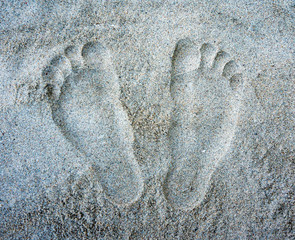 A pair of footprints on the sand