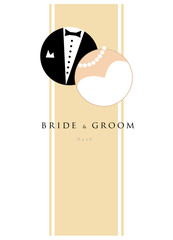 Wedding invitation, bride & groom, marriage