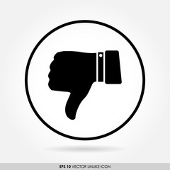 Thumbs down sign in circle - vector icon - bad & dislike concept