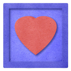 Red Heart in blue frame papercraft
