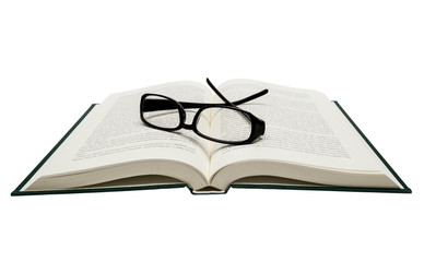 Book Opened With Eyeglasses Isolated On White