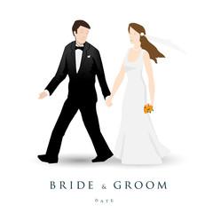 Wedding invitation, bride & groom, marriage
