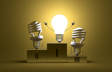 Glowing tungsten light bulb and dead spiral ones on podium