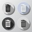 Trash bins or delete icons - retro style colors