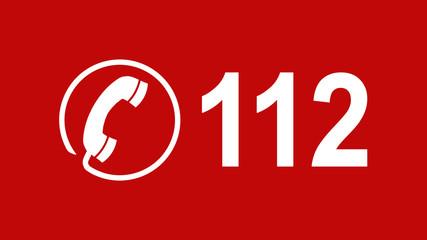 Telefonhörer im Kreis und 112 Notrufnummer - 16 zu 9 - g1074