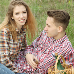 Young beautiful fashion couple in love