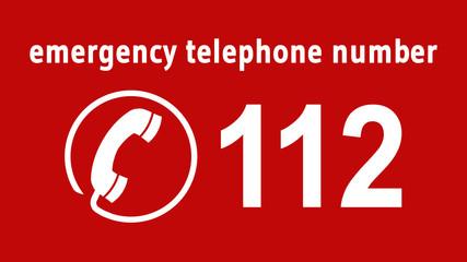 emergency telephone number 112 - 16 zu 9 - e1074
