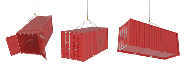 Shipping containers in different positions - red set