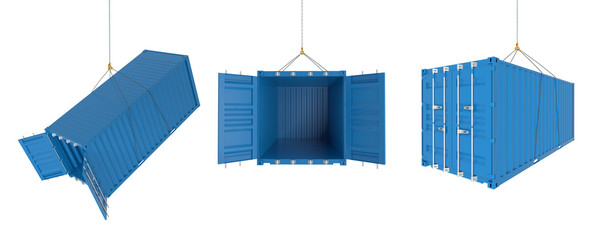 Shipping containers in different positions - blue set
