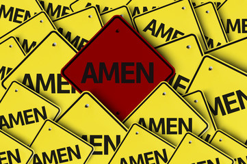 Amen written on multiple road sign