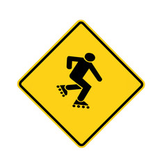 road sign - yellow - skater