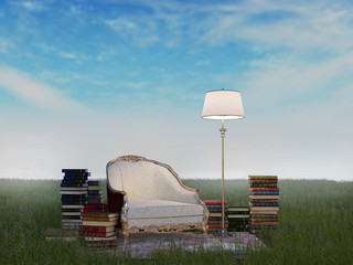 Reading place in the field