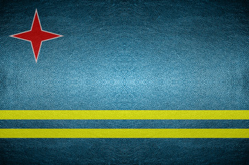 closeup Screen Aruba flag concept on PVC leather for background
