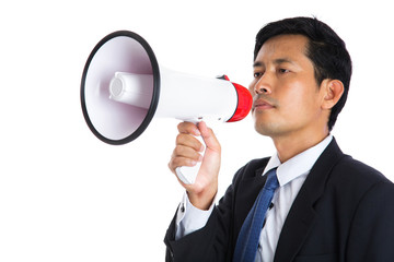 Male holding megaphone