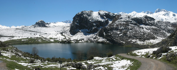 Enol lake on National Park of Picos de Europa  Spain