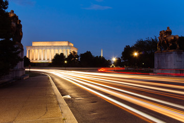 Light trail at Lincoln Memorial, Washington DC, USA.