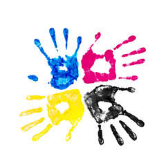 handprints yellow, blue, pink and black