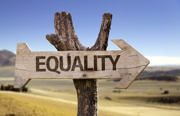 Equality wooden sign with a desert background