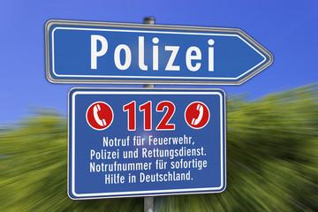 Wegweiser Schild Notrufnummer, Polizei, blau