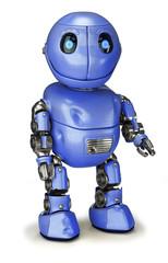 Ein zufriedener blauer Roboter mit Kratzern und Beulen