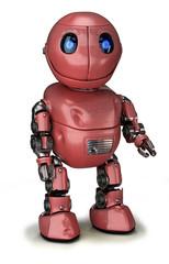 Ein zufriedener roter Roboter mit Kratzern und Beulen