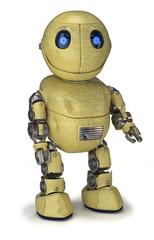 Ein zufriedener gelber Roboter mit Kratzern und Beulen