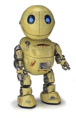 Ein zufriedener gelber Roboter mit Rost, Flecken und Beulen