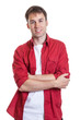 canvas print picture - Entspannter Mann in rotem Hemd