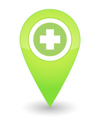 Map mark with a pharmacy icon