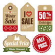 Retro set of christmas vintage sale  labels, tags, vector