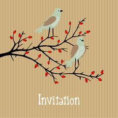Cute vector invitation with birds on wild rose bush