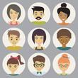 trendy flat people icons set
