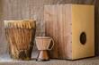 Leinwanddruck Bild - percussion instruments - Cajon and Djembe