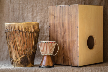 percussion instruments - Cajon and Djembe