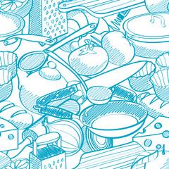 seamless kitchen stuff pattern