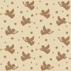 Christmas seamless pattern, silhouettes of angels, vector