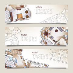 Set of horizontal banners with architectural plan