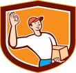 Delivery Man Okay Sign Shield Cartoon