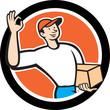 Delivery Man Okay Sign Parcel Circle Cartoon